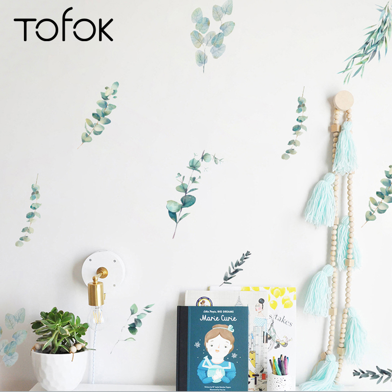 Tofok 12pcs/set Green Plants DIY Wall Sticker Watercolor Nordic Style Living room Bedroom Decals Fresh Office Nursery Decor Post