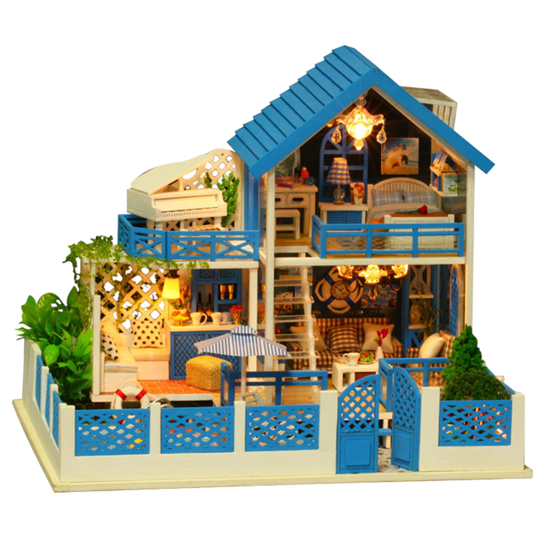Kids DIY Creative Handmade Theme Wooden Cabin Assembly Building Model Toy Set with Light and Music