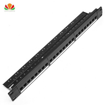19 1U Cabinet Rack Straight-through 24 Port CAT6 Patch Panel RJ45 Network Cable Adapter Keystone Jack Modular Distribution Frame