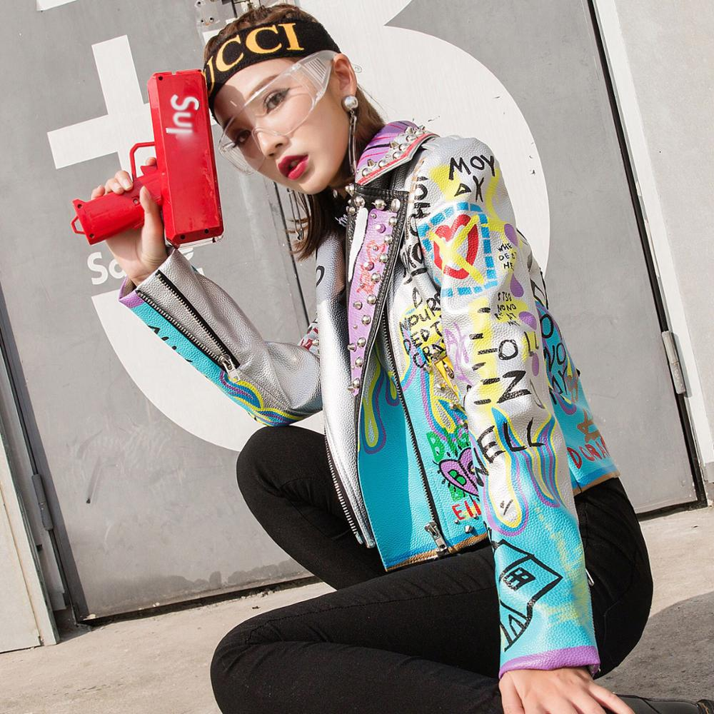 Femmes Rock Veste Collar Turn Dames 2019 Argent Lordlds Cuir Outwear down Printemps Vestes D'impression Nouveau Punk Manteaux Silver Mode En gfqxOdqt