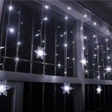 YIMIA 3,5 м светодиодный светильник для занавесок в виде снежинок сказочная гирлянда рождественское праздничное освещение Gerlyanda Новогоднее свадебное украшение для вечеринки