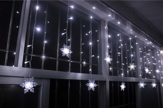 YIMIA 3.5M Snowflake LED Curtain Lights icicle fairy String ...
