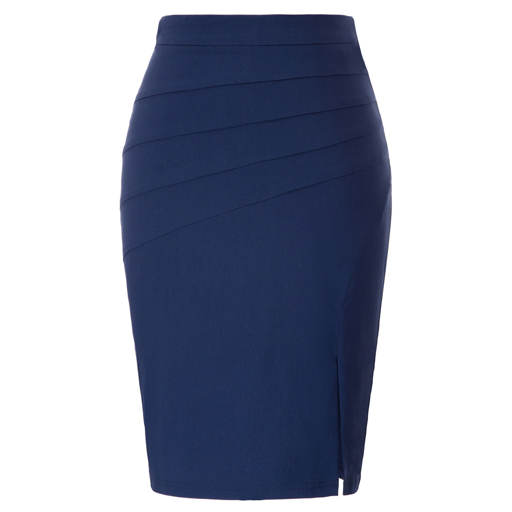 Navy Blue Skirt Women Office Business Wear Ladies Work Solid Color Split Skirt Stretch Ruched Hips-Wrapped Bodycon Pencil Skirt
