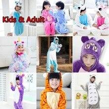 """Кигуруми, комбинезон для детей, мальчиков, девочек, единорог, семья, рождественские пижамы, одеяло """"Панда"""", слиперы, кигуруми, детский комбинезон, фланелевый, детский"""