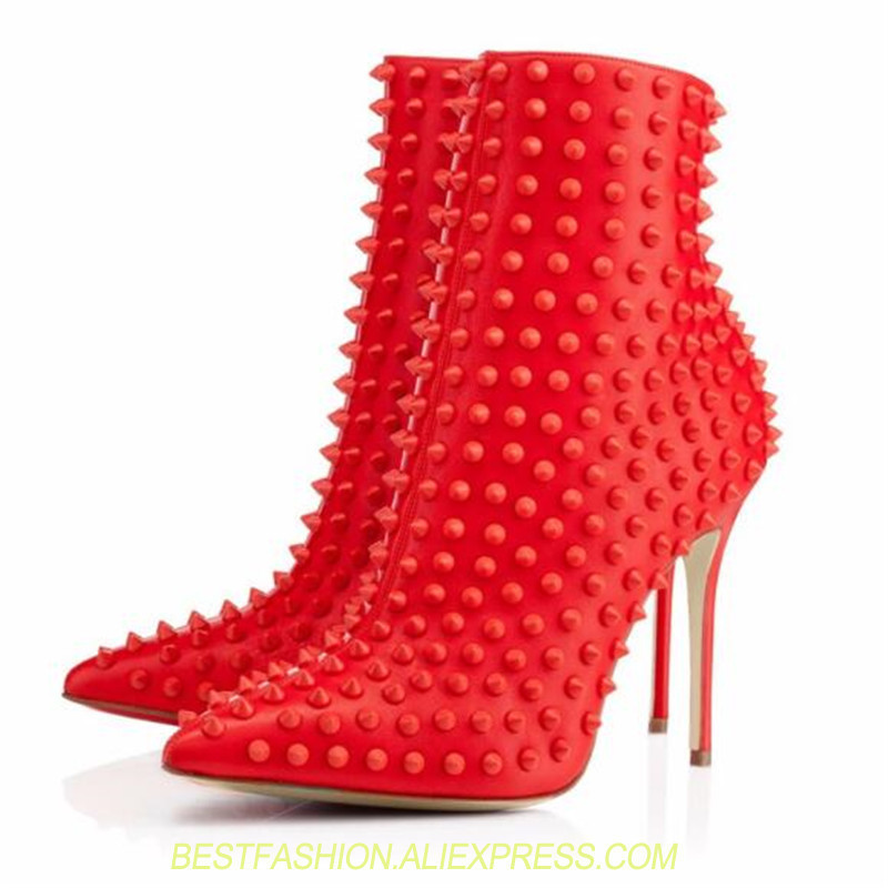 Extreme High Heel Short Booties Red Ankle Boots for Women  Pointed Toe Thin Heels Rivets Studded Ladies Shoes Plus Size 45Extreme High Heel Short Booties Red Ankle Boots for Women  Pointed Toe Thin Heels Rivets Studded Ladies Shoes Plus Size 45