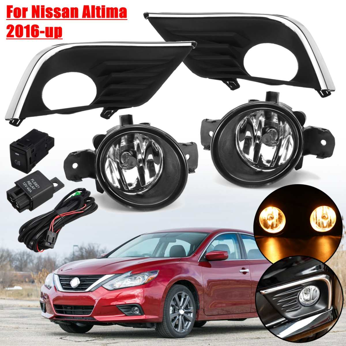 For Nissan Altima 2016 2017 2018 1 Pair 12V 55W H11 Car Front Fog Lights And Cover With Wire Switch Lamp Cover Frame Replacement