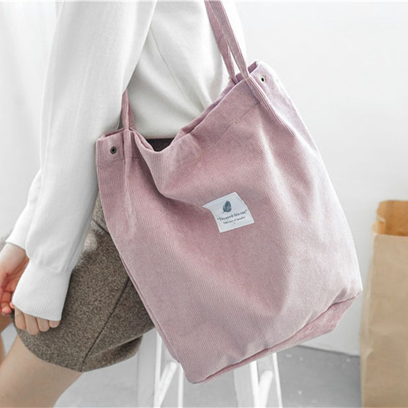 e8ae101bea Women Corduroy Tote Ladies Casual Shoulder Bag Foldable Reusable Shopping  Beach Bag Female Handbag High Capacity
