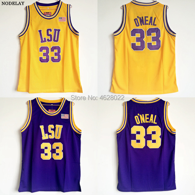 bb4ebbb9e NODELAY Men s LSU Tigers University  33 Shaquille O Neal Jersey Purple  Yellow Shaq ONeal College Basketball Stitched Jerseys