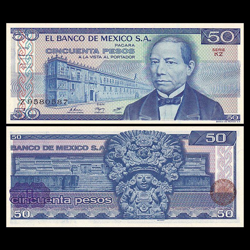 Mexico 50 Pesos, 1981, P-73, NEW, Polymer, UNC, Banknotes, Uncirculated, Collection, Gift, America, Original Paper Notes