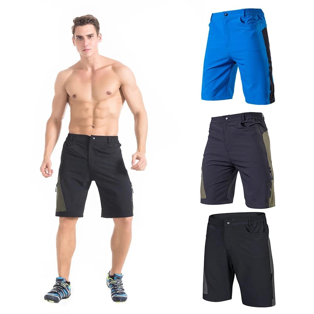 Mens Baggy Cycling Shorts Breathable Loose-Fit Outdoor Sports MTB Cycling Running Shorts Black-M