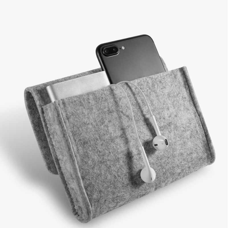 Home Storage Organization 1 Pcs Key Coin Package Mini Felt Pouch Earphone SD Card Power Bank Data Cable Travel Organizer
