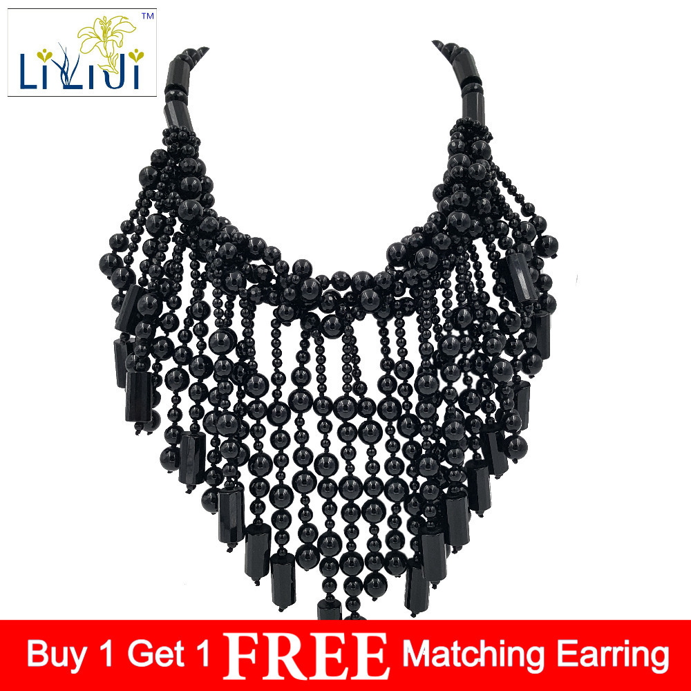 Lii Ji Natural Black Agate beads with Jade Toggle Clasp Big Necklace