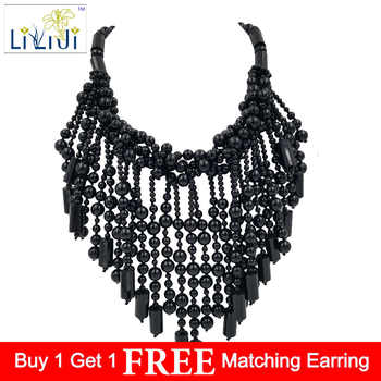 Lii Ji Natural Black Agate  beads with Jade Toggle Clasp Big Necklace - DISCOUNT ITEM  18% OFF All Category