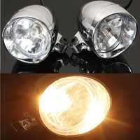 2 Pcs Universal DC 12 V 4 Motorrad Kugel Scheinwerfer Spot Nebel Lampe Chrom Lampe Bernstein Licht Für Harley für honda für Yamaha