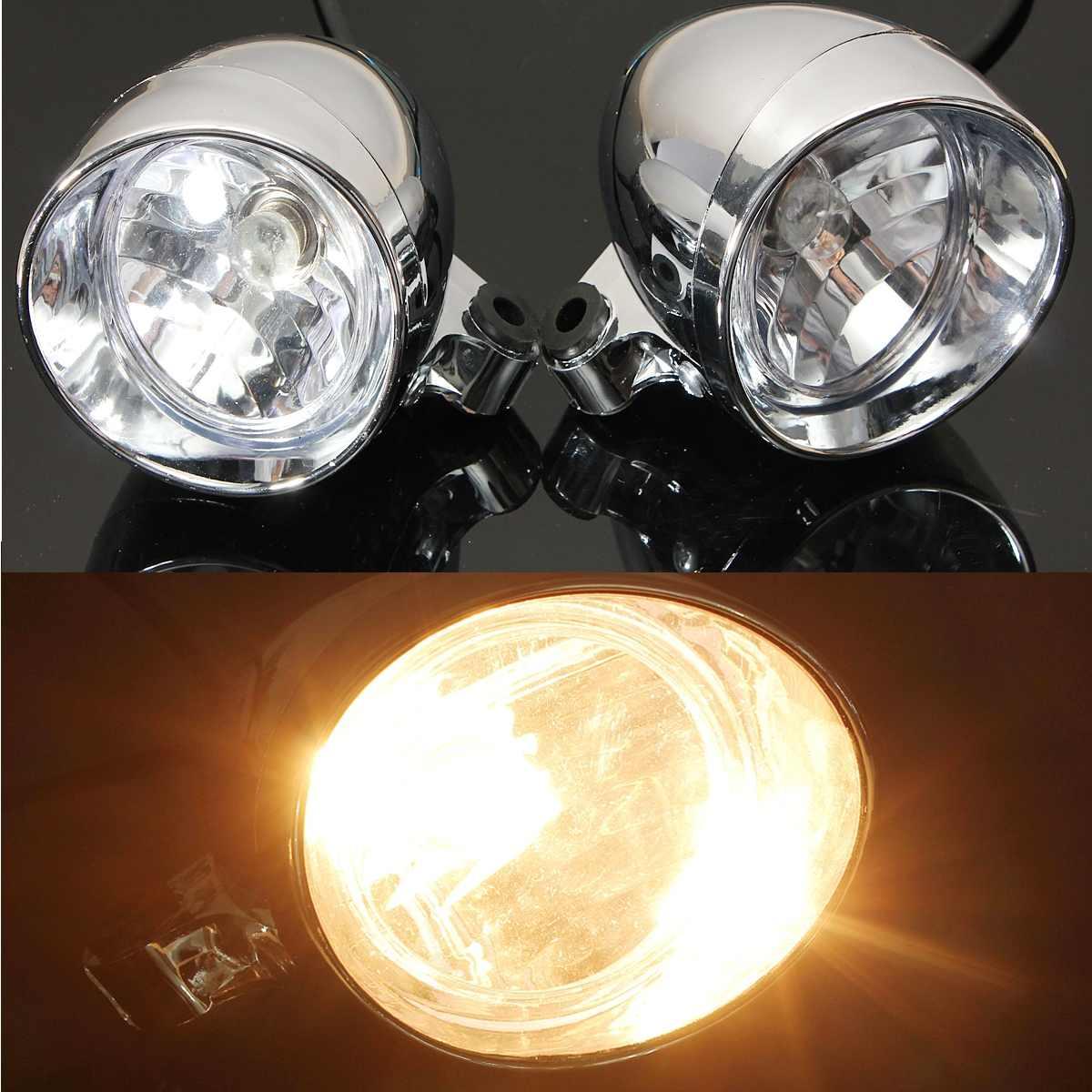 2Pcs Universal DC 12V Motorcycle Bullet Headlight Spot Fog Lamp Chrome Lamp Amber Light For Honda For Yamaha