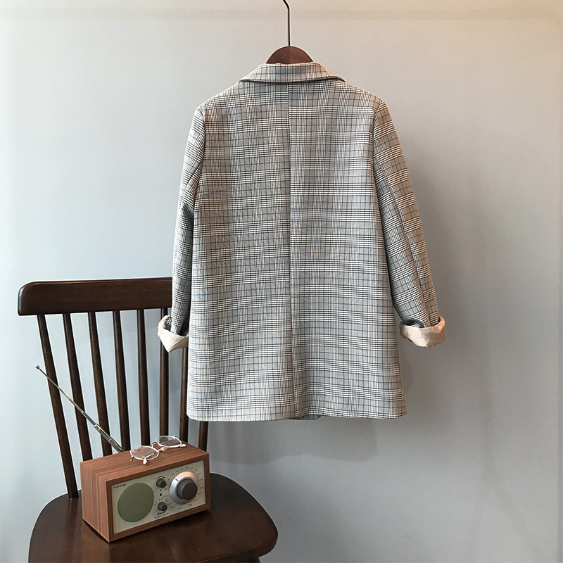 2019 Early Spring Retro Checked Suit Coat Woman Loose Casual Blazer Jacket Female Classic Plaids Tops Outerwear Clothing