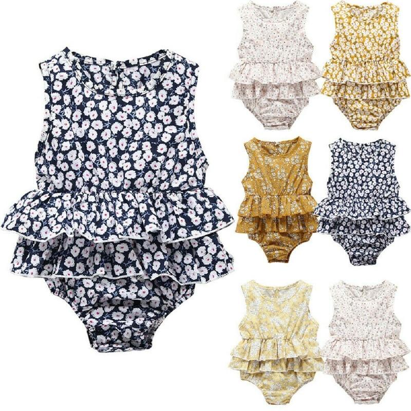 Baby Bodysuit Clothes Floral Sleeveless One Piece Bodysuit Ruffle Jumpsuit Cotton Baby Girl Body Suit Playsuit Girls Sunsuit