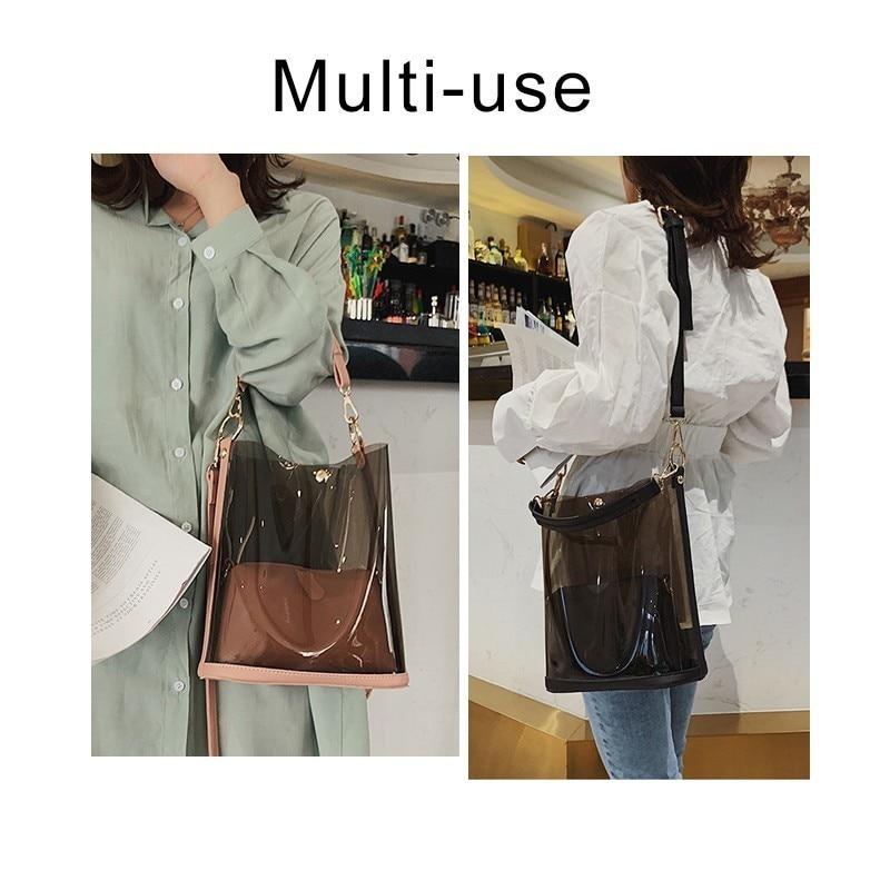 Image 3 - Herald Fashion 2pcs Women Clear Transparent Shoulder Bag Jelly Candy Summer Beach Handbag Woman Messenger Bags Bolsa FemininaTop-Handle Bags   -