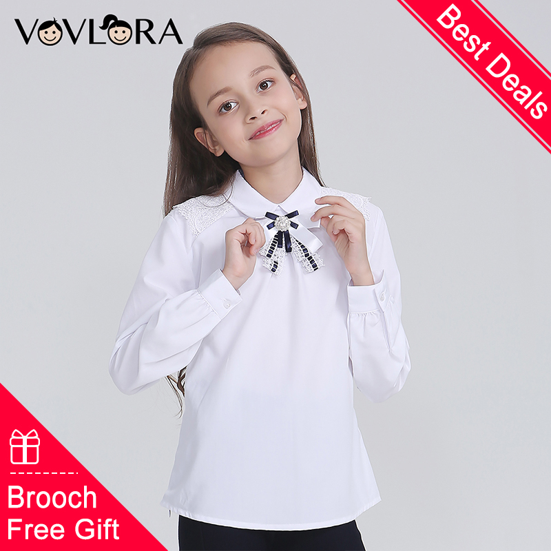 Free Gift Brooch White Girls Shirts Long Sleeve School Kids Blouse Lace Autumn Children Uniform 2018 Size 9 10 11 12 13 14 Year цены онлайн