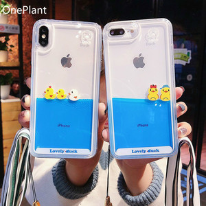 Cartoon Phone Case For iPhone 11 Pro Max X XR XS MAX 3D Swimming Duck Dynamic Liquid Quicksand For iPhone 5s 6 6s 7 8 Plus Cover(China)
