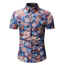 Mens dress Shirts Beach style Summer Hawaiian Shirt clothing Floral Flower Blue Dark brown Camisa masculina