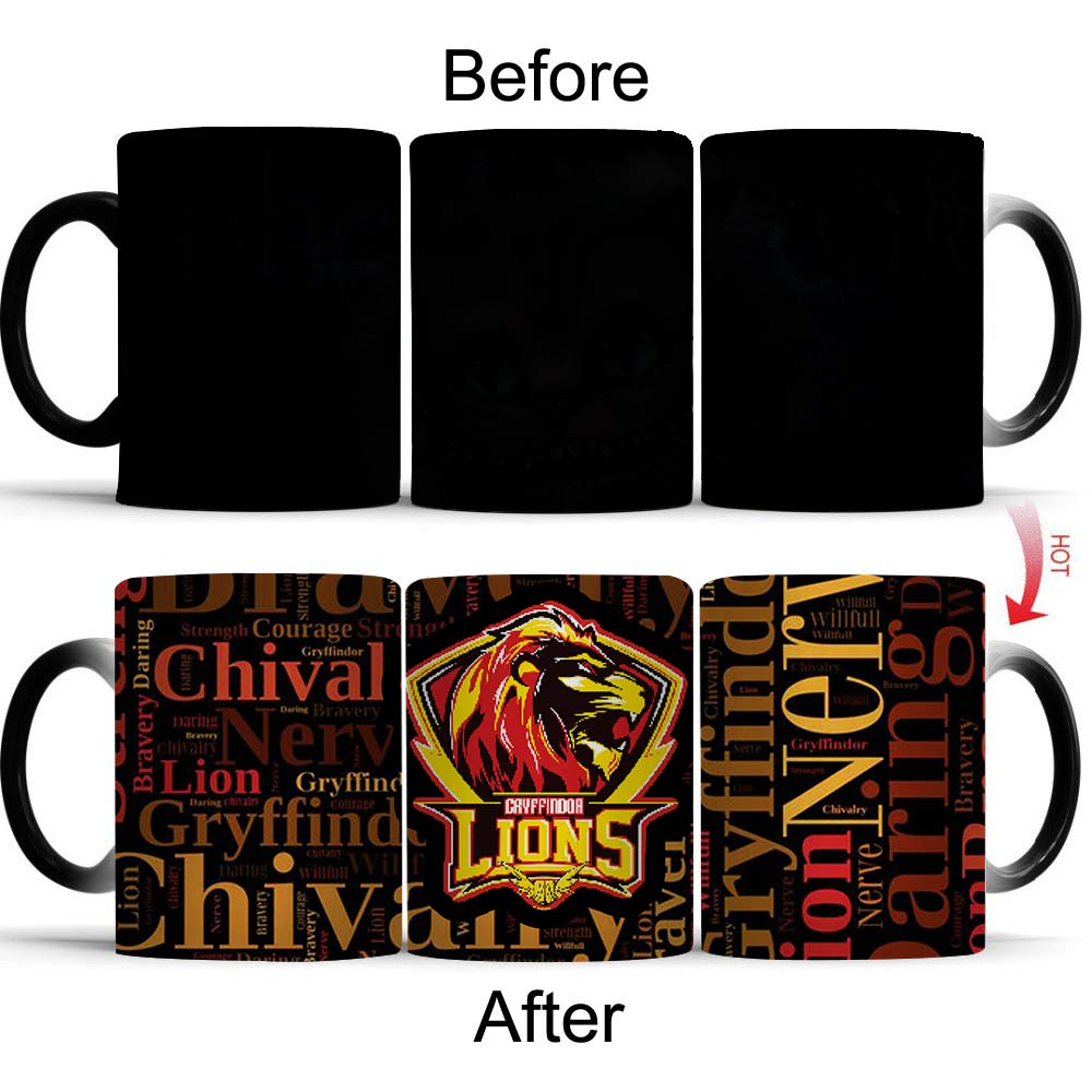 Wellcomics Harri Potter Hogwarts Gryffindor Heat Reveal Mug Color Change Cup Sensitive Morphing Mugs Temperature Sensing Mug