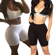 Women Casual High Elastic Waist Tight Fitness Slim Skinny Dancing Shorts Solid Color Exercise Shorts For Female Girls Teenager