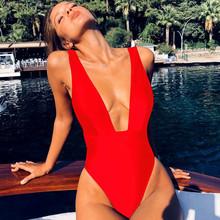 Hirigin Ruffles Women Swimwear One Piece Swimsuit 2019 Summer Push Up Padded Beach Women Vacation Bathing Suit Pure Color Bikini
