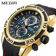 Часы наручные MEGIR Мужские кварцевые, спортивные брендовые Роскошные армейские в стиле милитари, с хронографом, с силиконовым ремешком