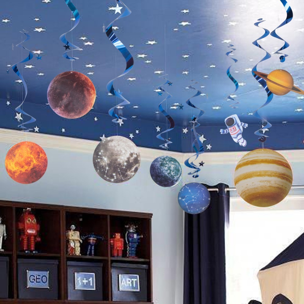 10pcs Space Theme Party Decoration Planet Pattern Paper Hanging Swirls Kids First Happy Birthday Home Decor Boy Party Supply(China)