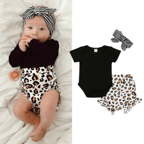 2019 Baby Girl Summer Clothing Set Leopard Print Clothes Top Romper Short Pants Outfit  For Kid Clothes Toddler Children Newborn