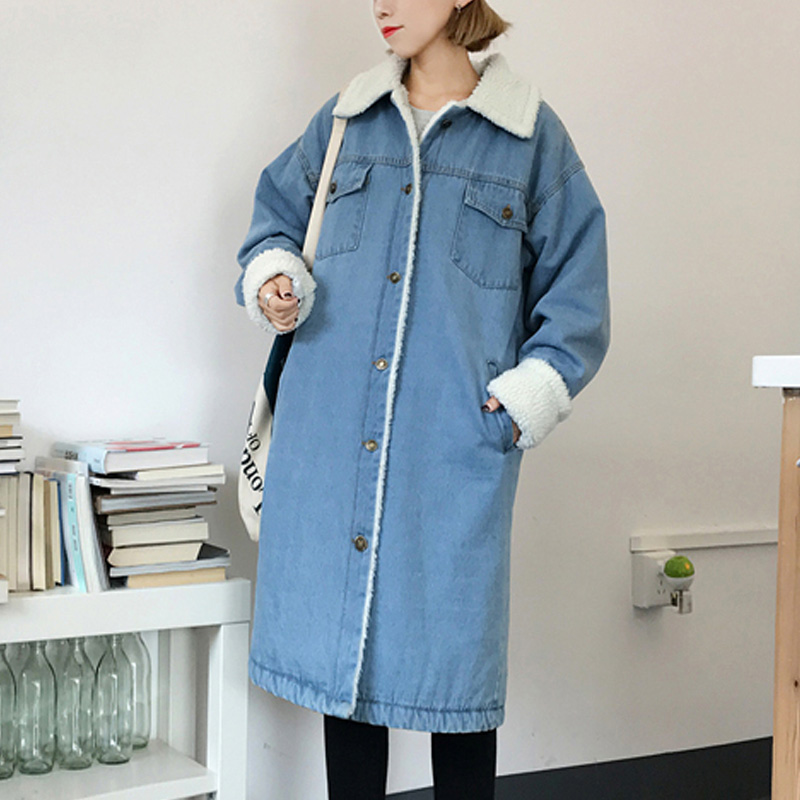 lamb thick denim jacket female winter big fur Loose denim cotton jacket long cotton suit