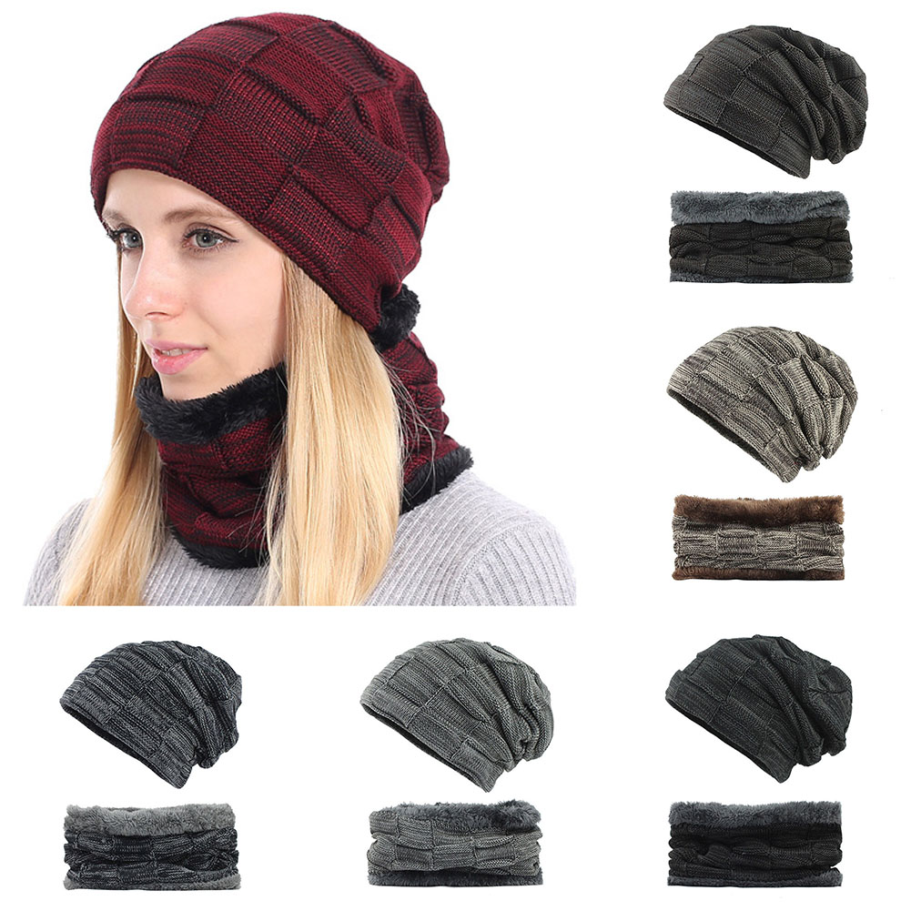 Fashion 2Pcs Warm Winter Knitted Hat +scarf Set Mask Beanie Cap Warm Velvet Neck Ring Scarves +Thicken Knitting Cap