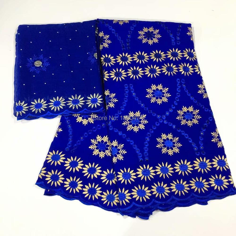 Blue Dubai 100 Cotton African Lace Fabric 2019 High Quality Swiss Voile Lace Fabric With Stones