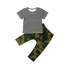 Baby Boy Newborn Clothes Striped T-shirt Top+Camouflage Pants Casual Infant Boy Clothes Boys Clothing Set Toddler Set Outfits newborn infant baby boys girls clothes set t shirt tops short sleeve pants cute outfits clothing baby boy