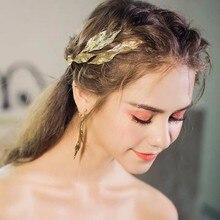 Винтажная тиара в виде золотых листьев с серьгами, большой обруч в форме листьев, свадебная корона, свадебные аксессуары для волос, женские Украшения для волос
