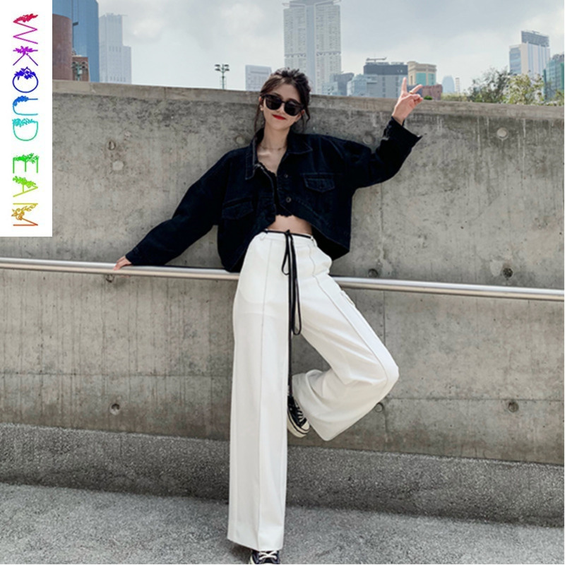 WKOUD EAM 2019 Spring Summer High Waist   Wide     Leg     Pants   Woman Lace-up Solid Color Pocket Trousers Female Fashion Bottoms TB332