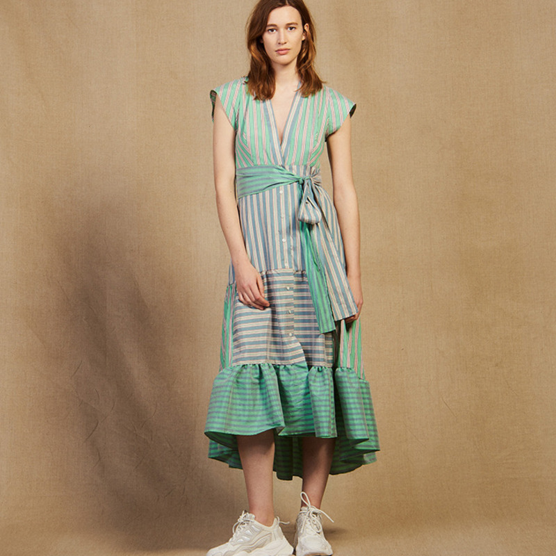 DEAT 2019 new summer fashion women clothes v neck sleeveless striped green waist belts dresses female
