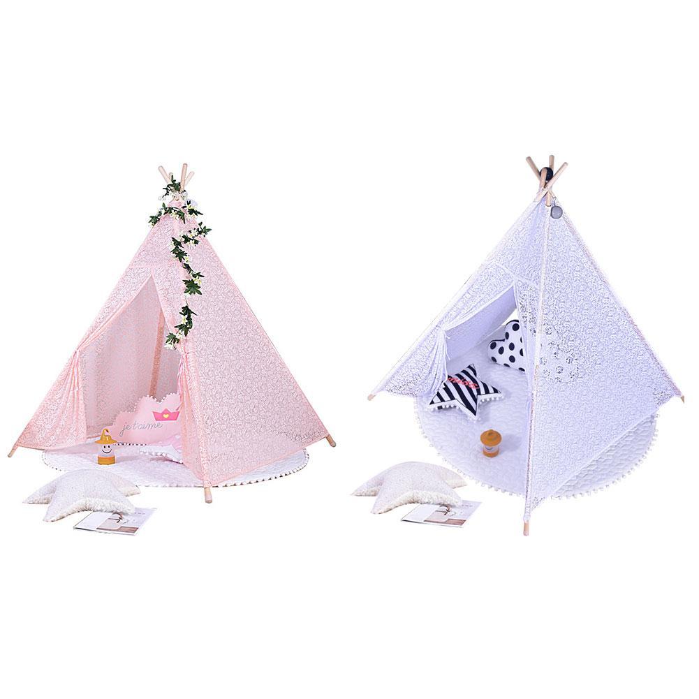 Tentes pour enfants Portable pliant luxe dentelle princesse château tente enfants maison de jeu indien Triangle tentes enfants cadeau - 3
