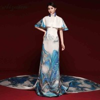 2019 New Stage Show Long Cheongsam Modern Nation Wind Host Qi Pao Women Oriental Evening Dress Qipao Chinoise White Tailing Gown