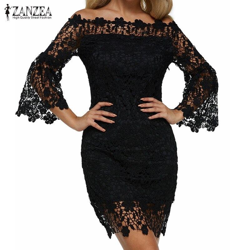 Женское кружевное мини платье в стиле пэчворк ZANZEA, вечерние однотонные платья с открытыми плечами и расклешенными рукавами, лето 2020|Платья|   | АлиЭкспресс