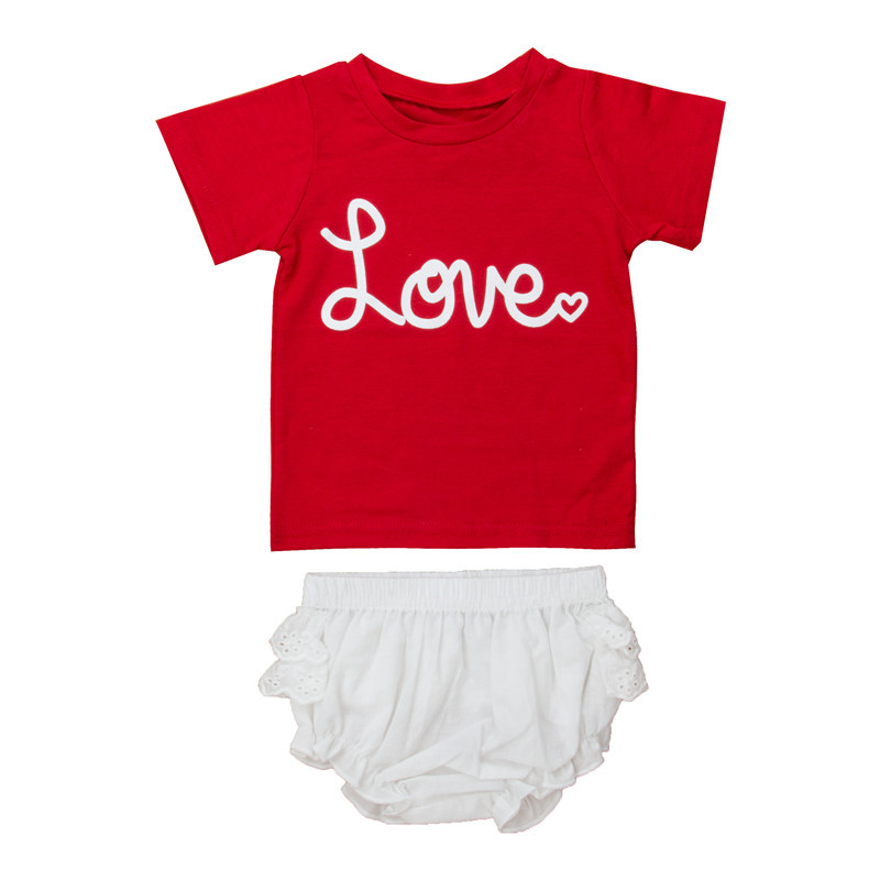 0-2Y Cute Girls Clothes Fashion Newborn Baby Girl Short Sleeve Red Letter Pattern T-shirt Tops+Lace Tutu Shorts 2Pcs Outfits Hot