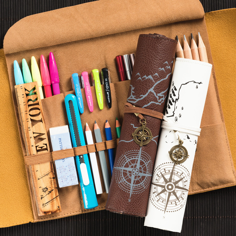 Dawegama Roll School Pencil Case Leather Pen Bag For Gift Large Pencilcase Box Stationery Pirate Treasure Map