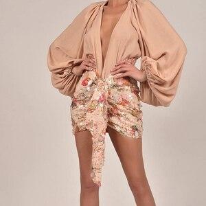 Image 2 - Karlofea אלגנטי פרחוני נצנצים חצאיות נשים שיק סימטרי קדמי זרוק עטוף מיני לעטוף חצאית סקסית מועדון מסיבת תלבושות חצאית