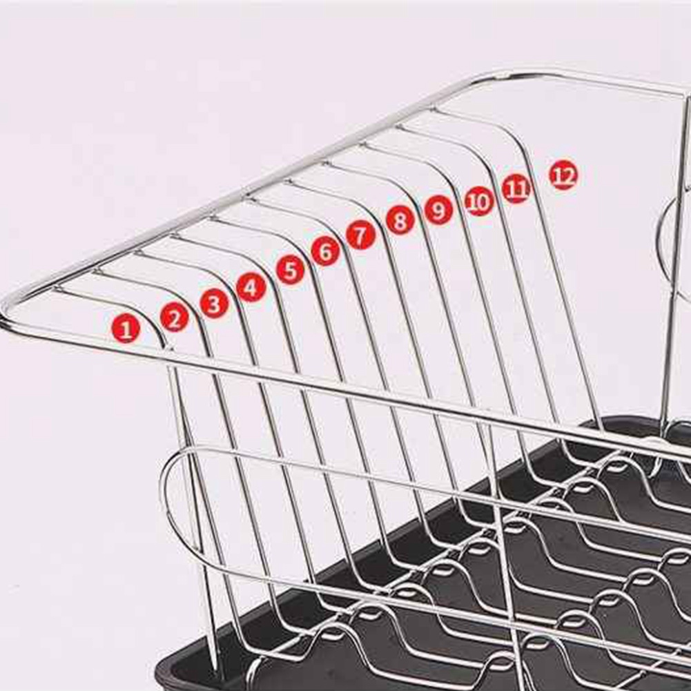 Image 5 - Stainless Steel Dish Drainer Drying Rack With 3 Piece Set Removable Rust Proof Utensil Holde For Kitchen Counter Storage Rack-in Racks & Holders from Home & Garden
