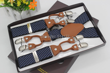2015 New striped vintage suspenders leather Adjustable 6 clip Mens fashion clothing recessionista