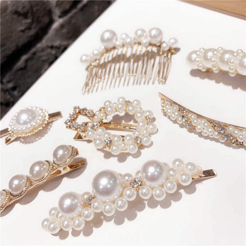 New Korea Fashion Imitiation Pearl Hair Clip Barrettes for Women Girls Handmade Pearl Flowers Hairpins Hair Accessories