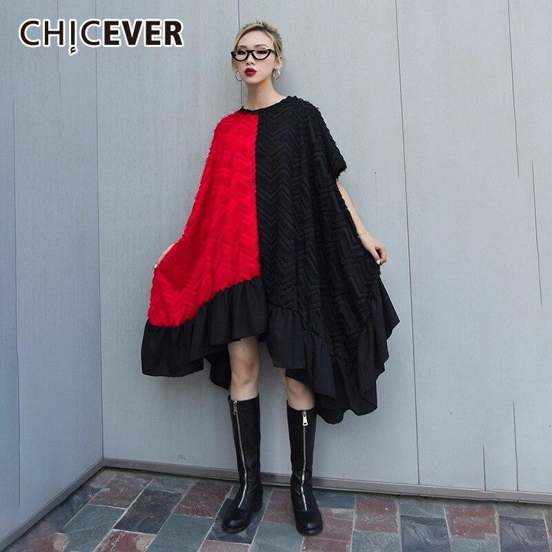 CHICEVER Spring Patchwork Hit Color Women Dress O Neck Short Sleeve Draped Mid calf Astmmetrical Hem