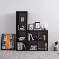 Panana Sturdy 4 Cube Bookcase Shelf Storage Unit Wooden Shelves Bookshelf Free Standing Divide Screen