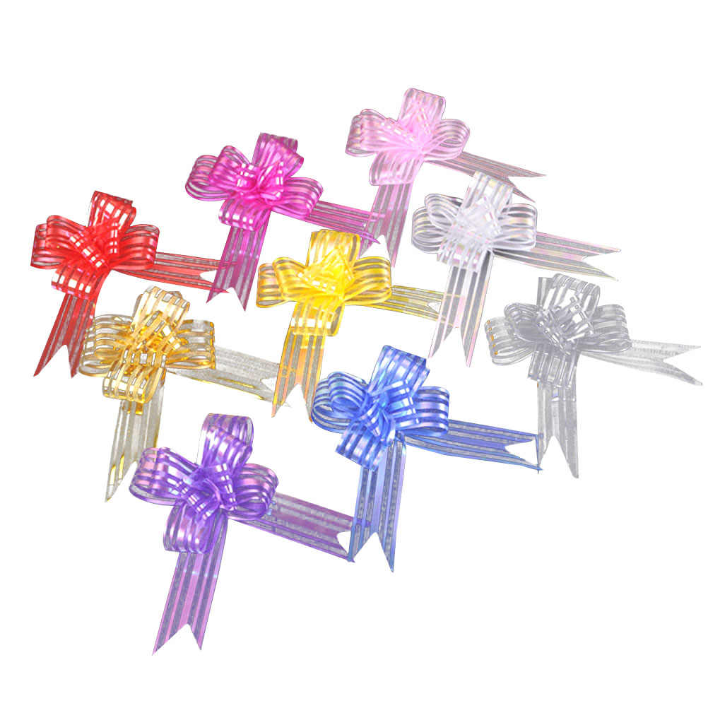 100pcs Pull Bows Gift Knot Ribbons Flower Basket Gift Wrapping Candy Box String Bows for Anniversary Wedding Christmas